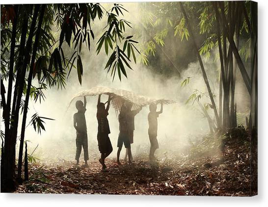 Jungles Canvas Print - Help Each Other by Andre Arment