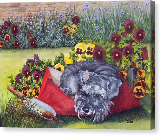 Helping The Gardener Canvas Print