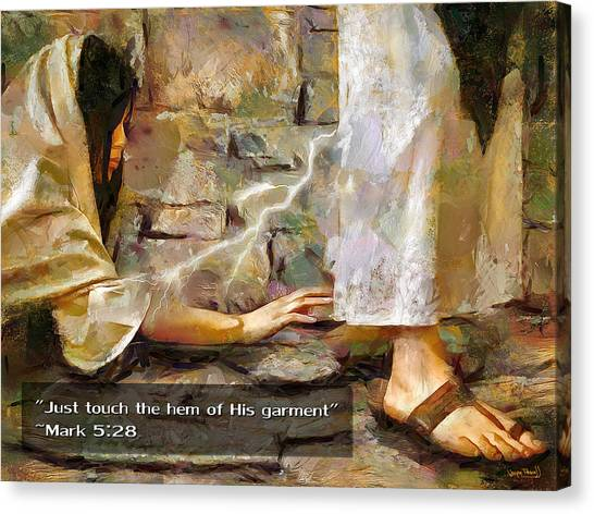 Hem Of His Garment And Text Canvas Print