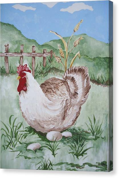 Hen And Eggs Canvas Print