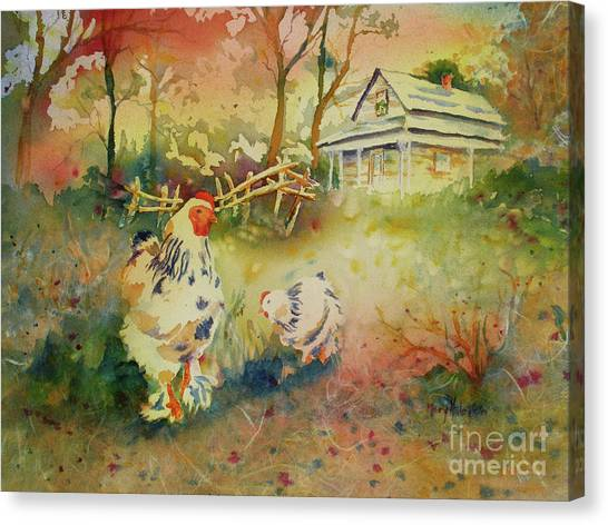 Hen And Rooster Canvas Print