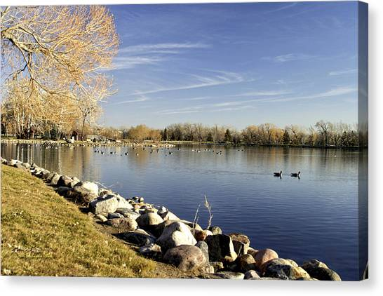 Henderson Lake Waiting For Winter Canvas Print by Tom Buchanan