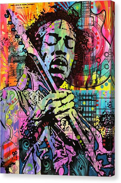 Jimi Hendrix Canvas Print - Hendrix History Of Rock by Dean Russo Art