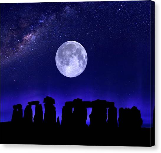 Henge Under The Supermoon Canvas Print
