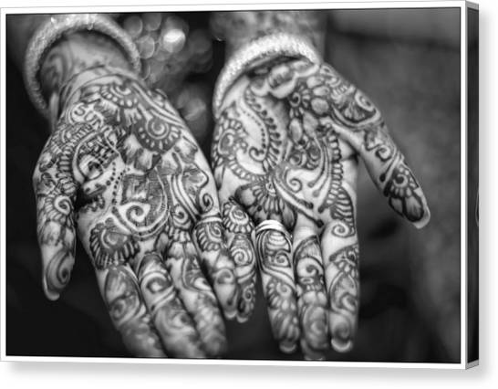 Henna Hands Black And White Canvas Print