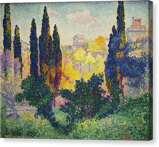 Henri Edmond Cross French Les Cypres A Cagnes Canvas Print