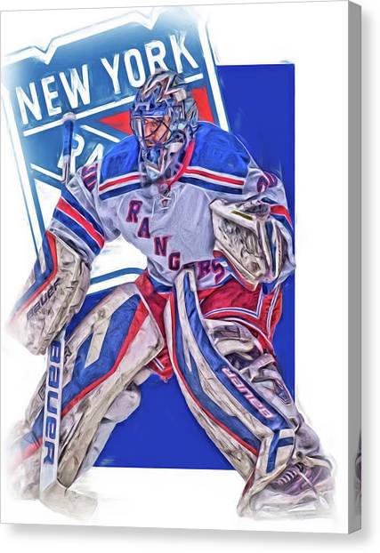 New York Rangers Canvas Print - Henrik Lundqvist New York Rangers Oil Art by Joe Hamilton