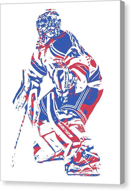 New York Rangers Canvas Print - Henrik Lundqvist New York Rangers Pixel Art 1 by Joe Hamilton