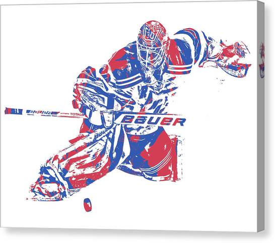 New York Rangers Canvas Print - Henrik Lundqvist New York Rangers Pixel Art 2 by Joe Hamilton