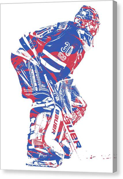 New York Rangers Canvas Print - Henrik Lundqvist New York Rangers Pixel Art 3 by Joe Hamilton