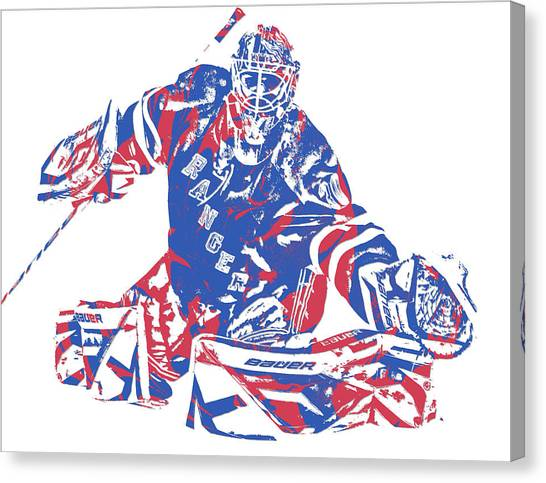 New York Rangers Canvas Print - Henrik Lundqvist New York Rangers Pixel Art 5 by Joe Hamilton