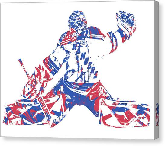 New York Rangers Canvas Print - Henrik Lundqvist New York Rangers Pixel Art 6 by Joe Hamilton