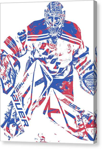 New York Rangers Canvas Print - Henrik Lundqvist New York Rangers Pixel Art 7 by Joe Hamilton