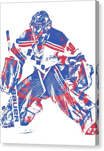New York Rangers Canvas Print - Henrik Lundqvist New York Rangers Pixel Art 8 by Joe Hamilton