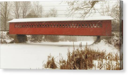 Henry Covered Bridge In Winter Canvas Print