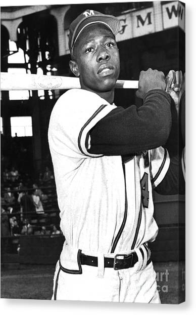 Atlanta Braves Canvas Print - Henry Hank Aaron by Barney Stein