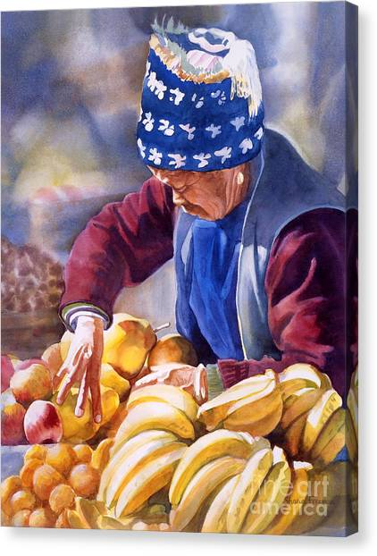 China Canvas Print - Her Fruitstand by Sharon Freeman