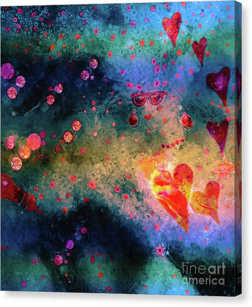Canvas Print featuring the painting Her Heart Shines Through by Claire Bull