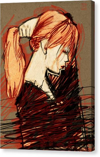 Redhead Canvas Print - Her Ponytail by H James Hoff