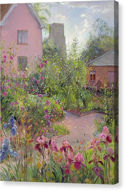 Church Yard Canvas Print - Herb Garden At Noon by Timothy Easton