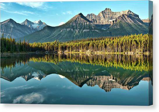 Mountain Ranges Canvas Print - Herbert Lake - Quiet Morning by Jeff R Clow