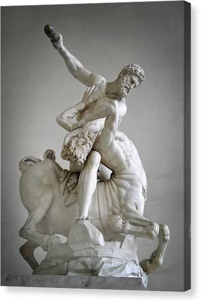 Hercules And Centaur Sculpture Canvas Print by Artecco Fine Art Photography