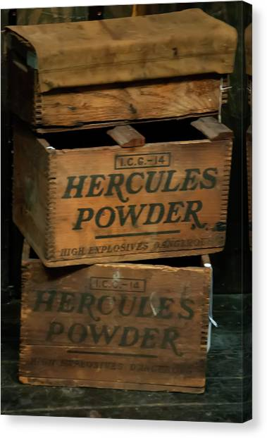 Canvas Print featuring the photograph Hercules Dynamite Crates by Chris Flees