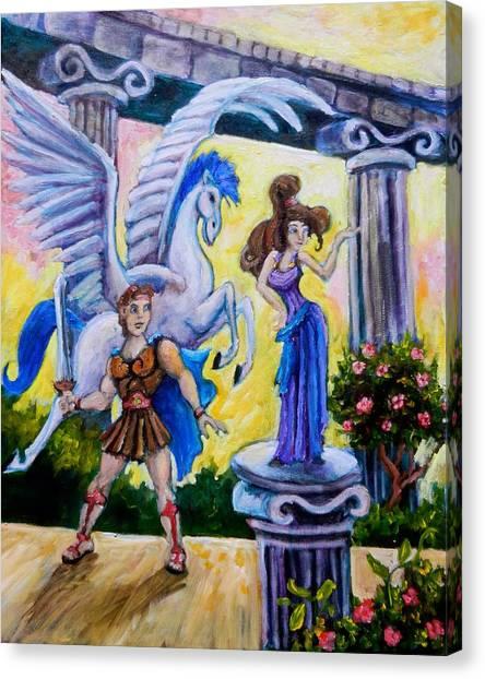 Hercules Pegasus And Meg Canvas Print by Sebastian Pierre