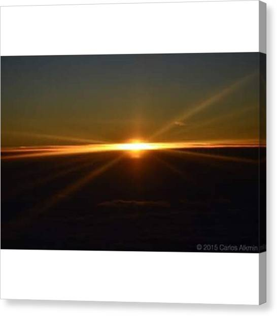 Sunrise Horizon Canvas Print - Here Comes The Sun...flying Over Madrid by Carlos Alkmin