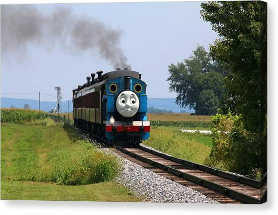 Thomas The Train Canvas Print - Here Comes Thomas The Train by William Rogers