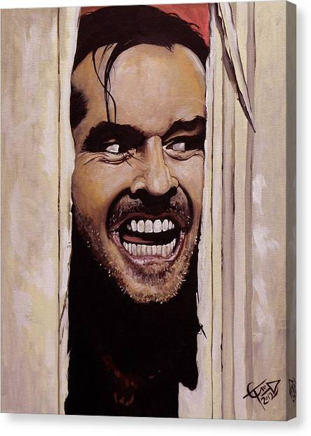 Jack Nicholson Canvas Print - Here's Johnny by Tom Carlton