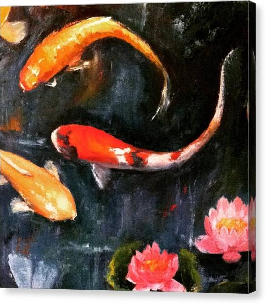 Fish Canvas Print - Here's Some Zen For The Day. :) #koi by Jennifer Beaudet