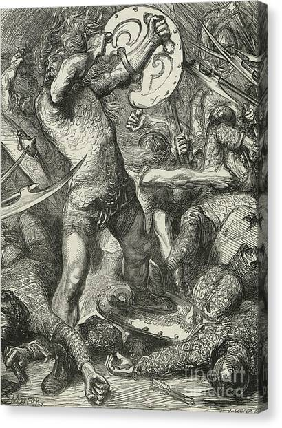 Axes Canvas Print - Hereward Cutting His Way Through The Norman Host by James Cooper