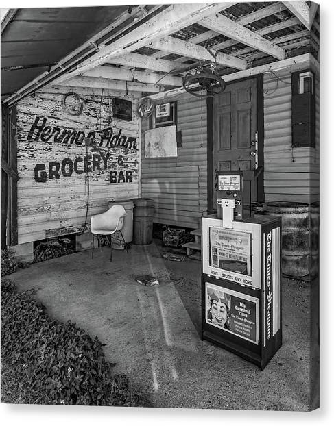 Grocery Store Canvas Print - Herman Had It All 2 Bw by Steve Harrington