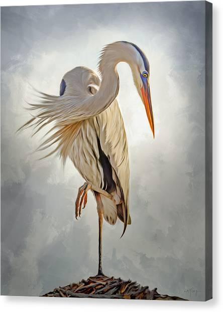Linda King Canvas Print - Great Blue Heron Artwork 0660 by Linda King