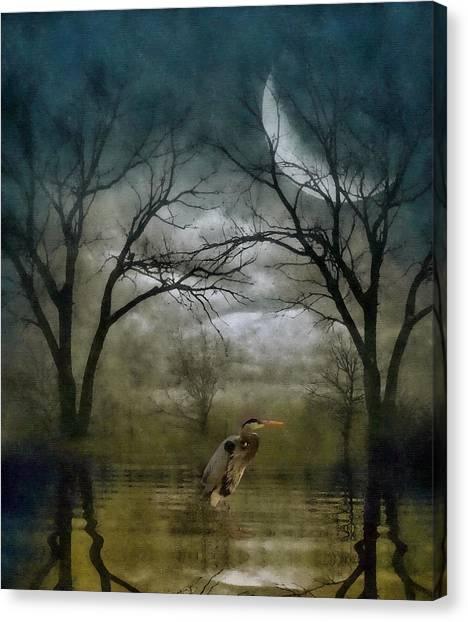 Heron By Moon Glow  Canvas Print