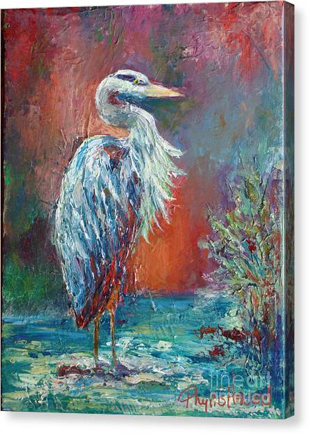 Heron In Color Canvas Print