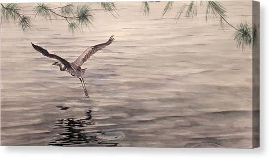 Heron In Flight Canvas Print by Debbie Homewood
