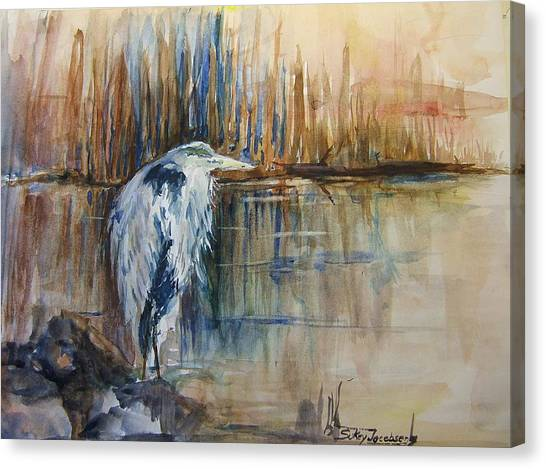 Heron In The Reeds 1 Canvas Print by Sukey Watson