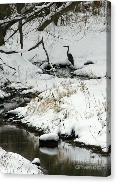 Heron In Winter Canvas Print