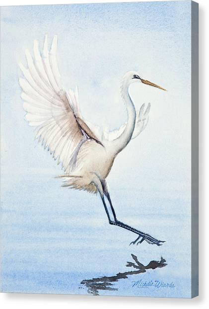 Heron Landing Watercolor Canvas Print