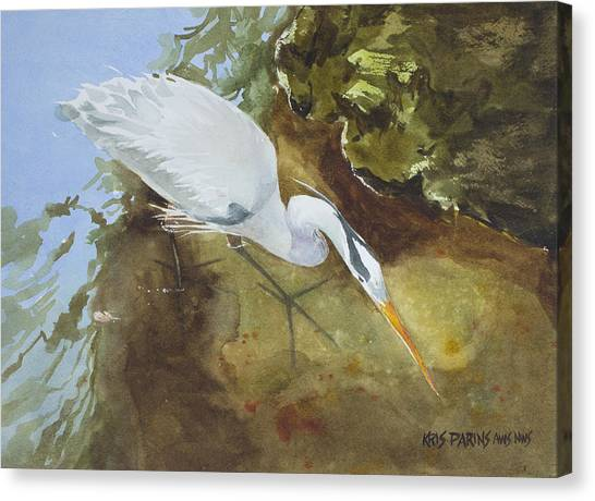Heron Under The Bridge Canvas Print