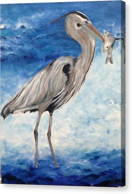 Heron With Fish Canvas Print