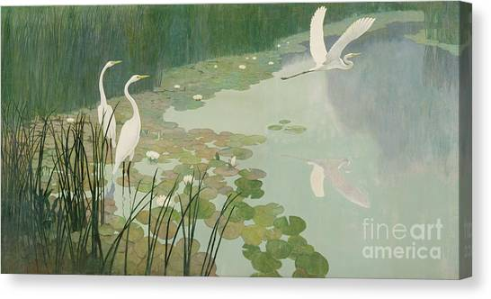 Herons Canvas Print - Herons In Summer by Newell Convers Wyeth
