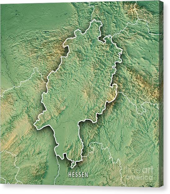 topographic maps canvas print hessen federal state germany 3d render topographic map border by frank