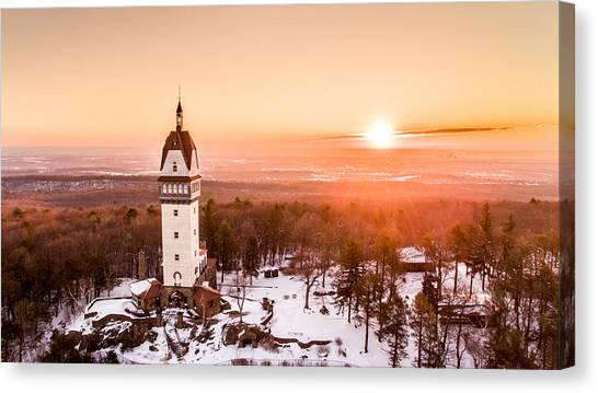 Sunrise Canvas Print - Heublein Tower In Simsbury Connecticut by Petr Hejl