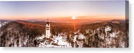 Heublein Tower In Simsbury Connecticut, Winter Sunrise Panorama Canvas Print