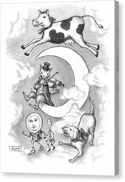 Pen And Ink Drawing Canvas Print - Hey Diddle Diddle by Adam Zebediah Joseph