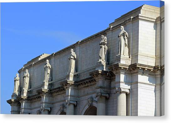 Joe Biden Canvas Print - Hey Is That Joe Biden One Statue Said To Another At Union Station by Cora Wandel