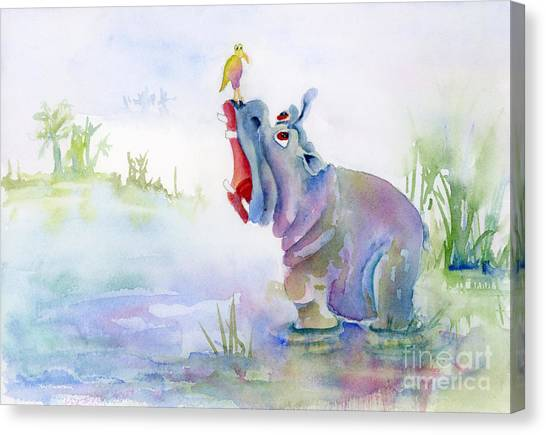 Hippos Canvas Print - Hey Whats The Big Idea by Amy Kirkpatrick